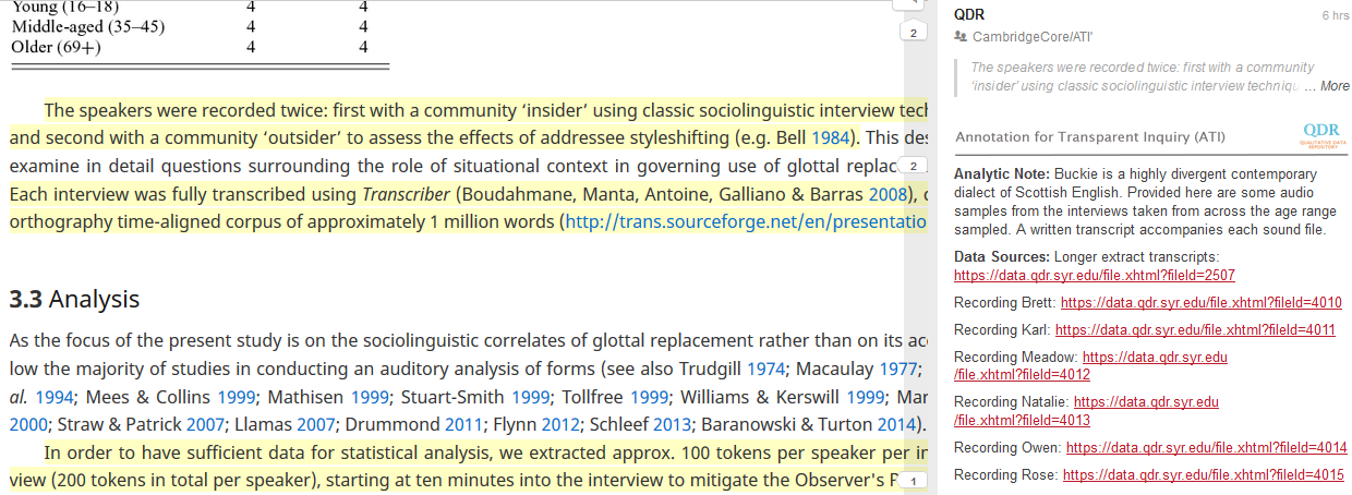 Screenshot of article text and annotation for Smith/Holmes-Elliott